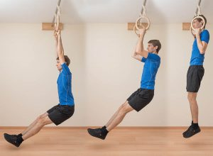 Chin-Ups on rings are perfect for staying in shape with knee pain